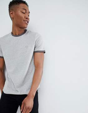 Le Breve Contrast Rib Muscle Fit T-Shirt