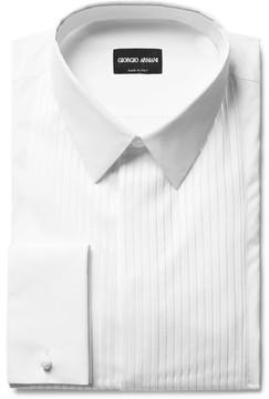 Giorgio Armani White Bib-Front Double-Cuff Cotton Tuxedo Shirt