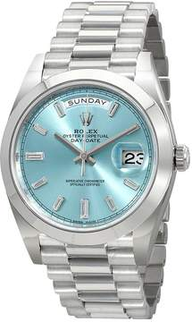 Rolex Oyster Perpetual Day-Date Ice Blue Baguette Dial Platinum President Automatic Men's Watch