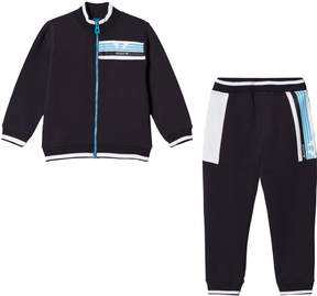 Armani Junior Navy Grey And Blue Logo Tracksuit