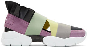 Emilio Pucci Pink and Black Colorblock Paris Ruffle Slip-On Sneakers