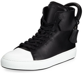 Buscemi Men's 125mm Leather High-Top Sneaker, Black/White
