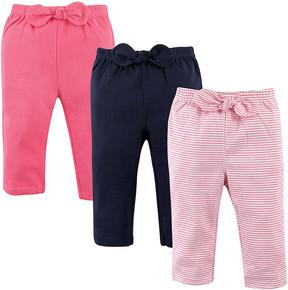 Hudson Baby Pink & Navy Stripe Joggers Set - Infant & Girls