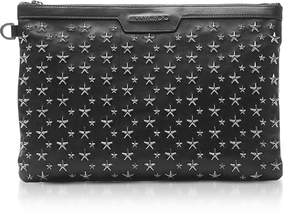 Jimmy Choo Stars Studded Black Leather Derek Clutch