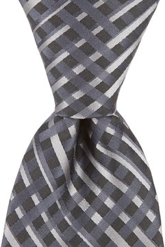 Murano Fenced In Checked Traditional Silk Tie