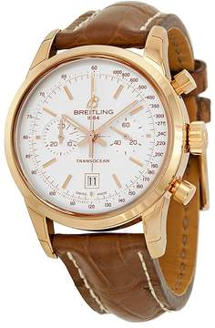 Breitling Transocean Chronograph 38 Silver Dial 18kt Rose Gold Leather Men's Watch R4131012-G758BRCT