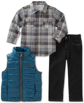Calvin Klein 3-Pc. Plaid Shirt, Vest & Pants Set, Toddler Boys (2T-5T)