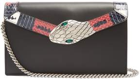 Gucci Lilith mini snakeskin-trimmed leather shoulder bag - BLACK - STYLE