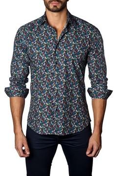 Jared Lang Men's Trim Fit Leaf Print Sport Shirt