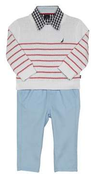 Nautica Baby Boy's Three-Piece Sweater, Button-Down Shirt and Pants Set