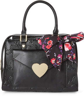 Betsey Johnson Black & Fuchsia Scarf-Accented Heart Embossed Satchel