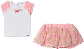 Mayoral Pink Embroidered Tulle Skirt and White Ruffle Tee Set