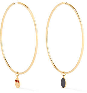 Alison Lou Endless 14-karat Gold And Enamel Hoop Earrings