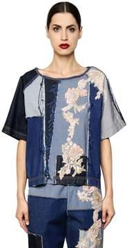 Antonio Marras Floral Patchwork Cotton Denim Top
