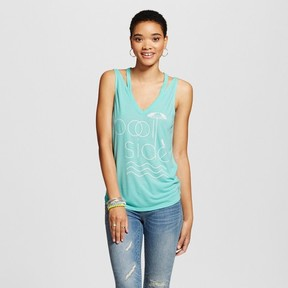 Fifth Sun Women's Pool Side Cut Out Graphic Tank Top Turquoise Juniors')