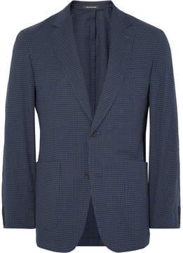 Richard James Blue Spirit Slim-Fit Gingham Stretch-Cotton Seersucker Blazer