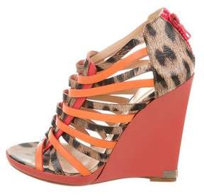 Roberto Cavalli Animal Print Gladiator Wedges