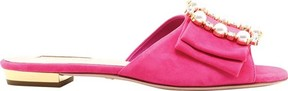 Sebastian S7565 Gemstone and Faux Pearl Buckle Suede Slide (Women's)