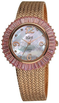 Burgi Mother Of Pearl Dial Rose-Tone Brass Mesh Ladies Watch