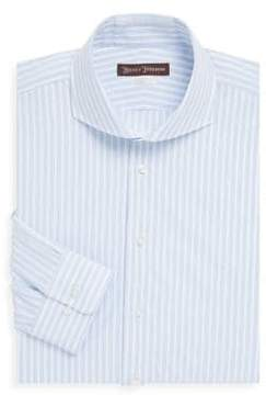 Hickey Freeman Wide Stripe Cotton Dress Shirt
