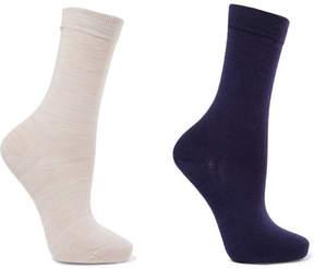 Falke Set Of Two Stretch Wool-blend Socks - Midnight blue
