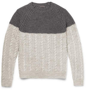 Barena Two-Tone Waffle And Cable-Knit Wool-Blend Sweater