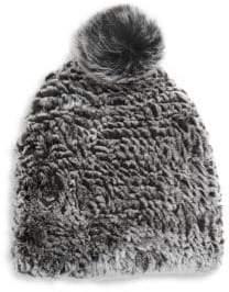 Saks Fifth Avenue Rex Plush Rabbit Fur Beanie