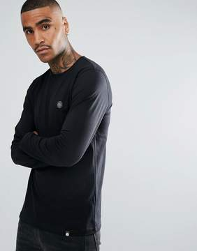 Pretty Green Mitchell Chest Logo Long Sleeve T-Shirt in Black