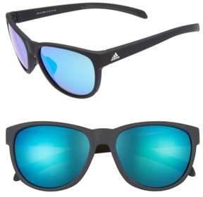 Women's Adidas Wildcharge 57Mm Mirrored Sunglasses - Black Matte/ Blue Mirror