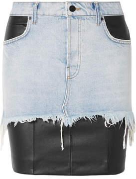 Alexander Wang Layered Distressed Denim And Leather Mini Skirt - Black
