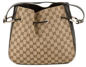 Gucci Black Leather GG Monogram Canvas sima Shoulder Bag - BLACK - STYLE