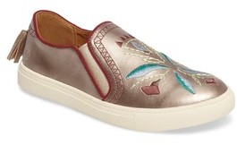 Frye Girl's Gemma Stitch Embroidered Slip-On Sneaker