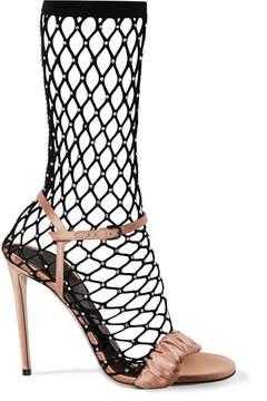 Marco De Vincenzo Crystal-embellished Fishnet And Ruched Satin Sandals - Antique rose