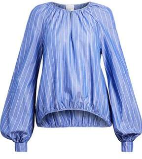 Stella Jean Gathered Striped Cotton-Poplin Blouse