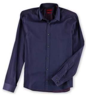 HUGO BOSS Mens Dot-Stripe Long Sleeve Button Up Shirt Purple S