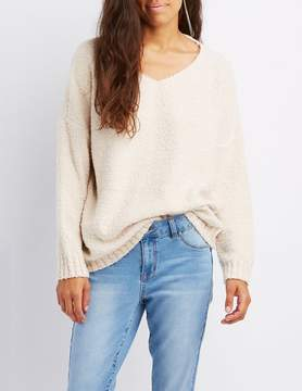 Charlotte Russe Boucle V-Neck Pullover Sweater