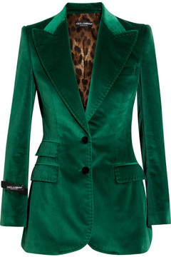 Dolce & Gabbana Cotton-blend Velvet Blazer - Emerald