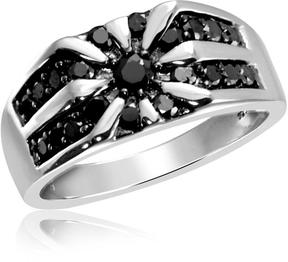 Ice Men's 1 CT TW Round Black Diamond Sterling Silver Unique Fashion Ring by JewelonFire