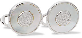 Dunhill Ad Engraved Silver-Tone Mother-Of-Pearl Cufflinks