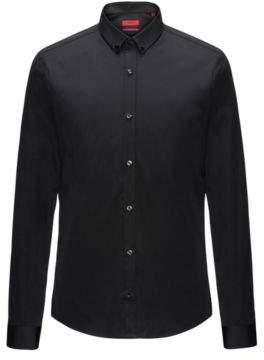 HUGO Boss Jeweled Cotton Sport Shirt, Extra Slim Fit Ero S Black