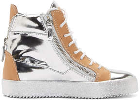 Giuseppe Zanotti Silver and Beige Leather May London Wedge Sneakers