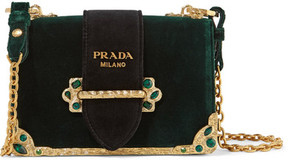 Prada - Cahier Box Velvet Shoulder Bag - Emerald