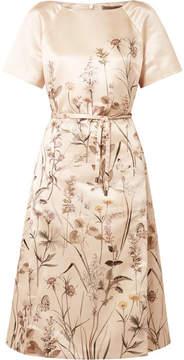 Bottega Veneta Printed Duchesse-satin Dress - Ivory