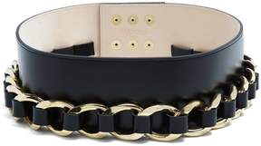 Balmain Chain-embellished leather waist belt