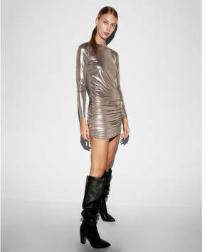 Express metallic long sleeve mini dress