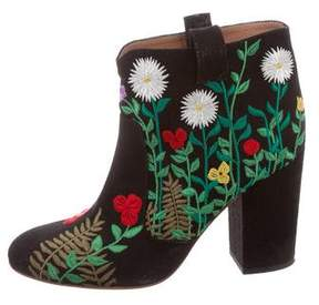 Laurence Dacade Floral-Embroidered Ankle Boots