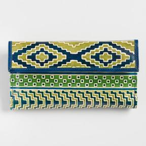 World Market Blue and Green Geometric Leather Wallet