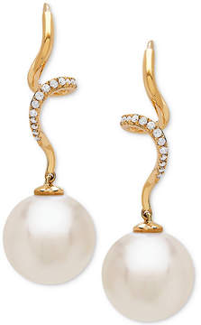 Honora Style Cultured White Ming Pearl (12mm) and Diamond (1/10 ct. t.w.) Twist Drop Earrings in 14k Gold