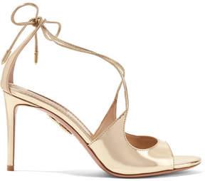 Aquazzura Sofia Metallic Leather Sandals - Gold