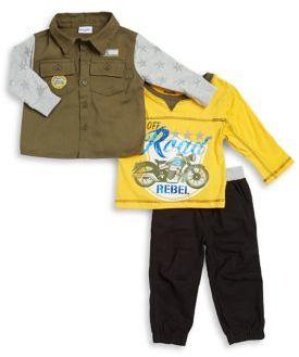 Nannette Baby Boy's Three-Piece Cotton Top, Button-Down & Pants Set